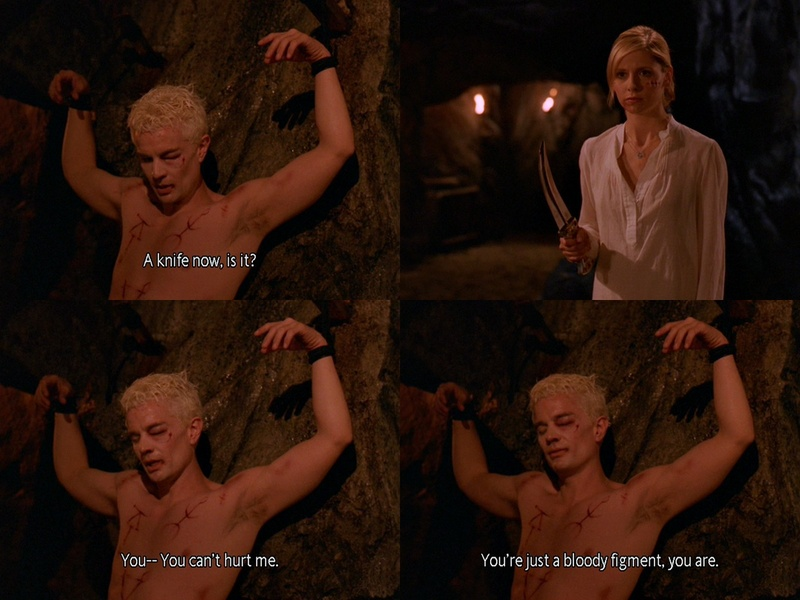 Picture collage of Spike and Buffy in Spike's sadomasochistic dream sequence