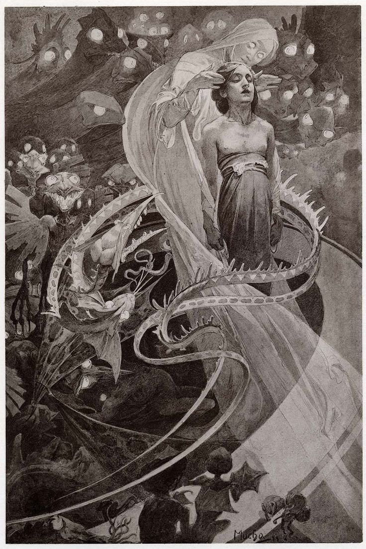 Monochrome art print of a woman surrounded by demons as part of a Victorian style occult scene