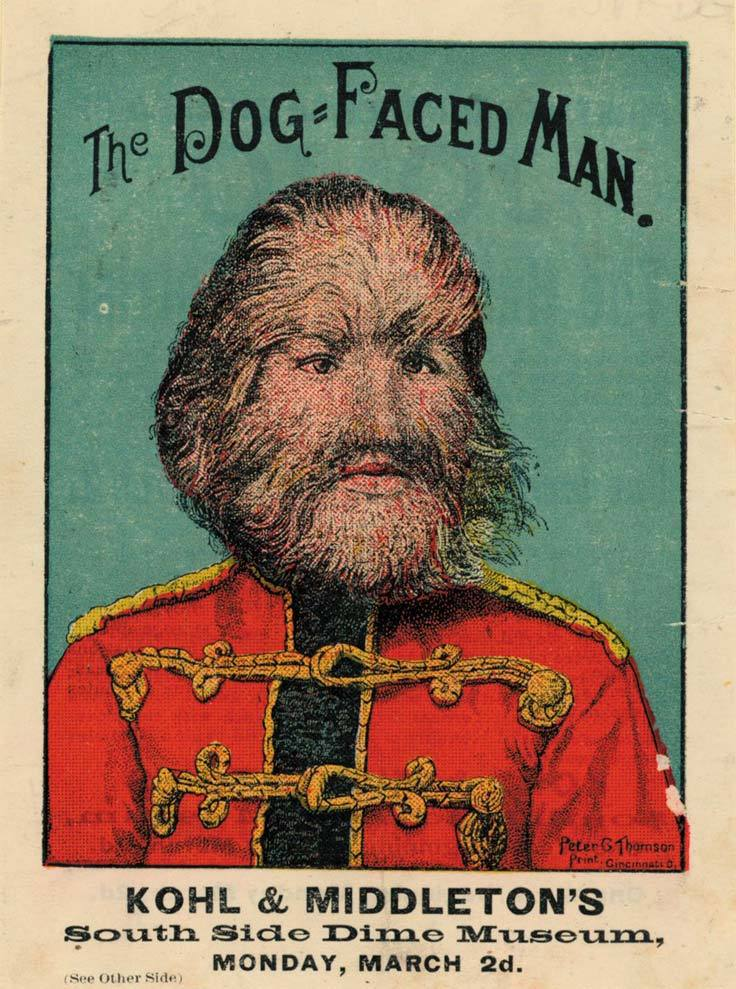 Victorian freak show poster of the dog faced man