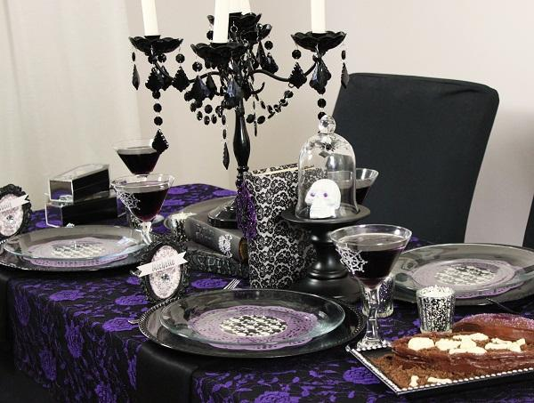 Gothic table decor for a steampunk baby shower
