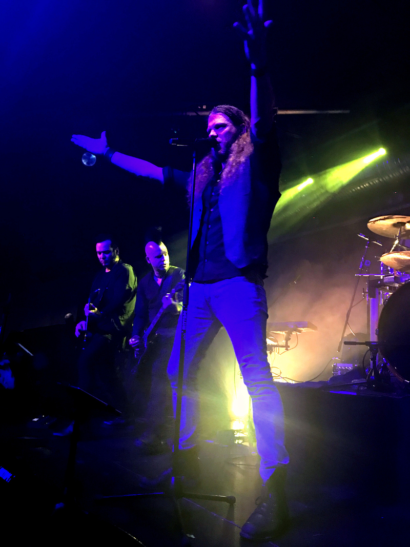 Frontman Adrian Hates puts on a show for the fans at Diary of Dreams concert in Sofia, Bulgaria