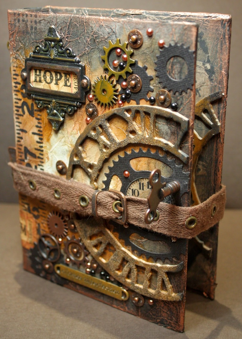 An altered book can be used as a steampunk baby shower gift, game or activity