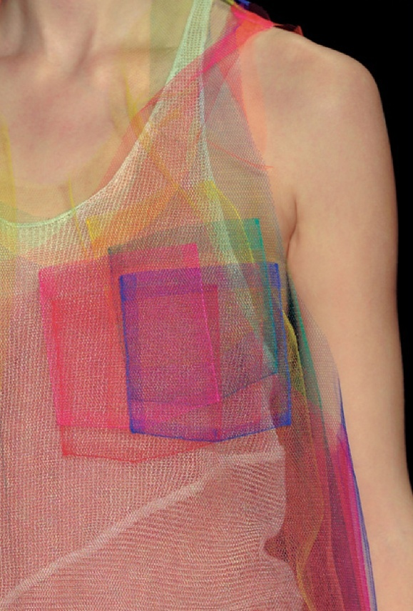 Modern fashion neon vest made from multicolored mesh with imitation pockets