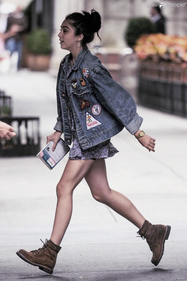 Lourdes Leon - street style denim jacket and worker boots