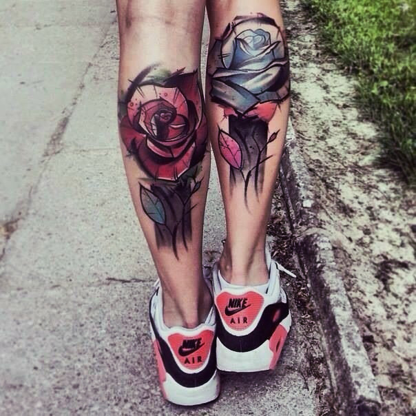 Watercolor calf tattoos: Abstract roses tattoo design