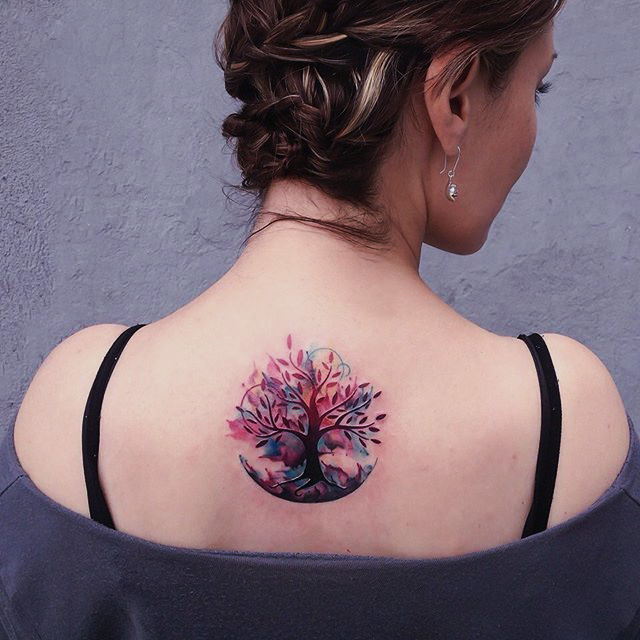 Cute watercolor back tattoo design