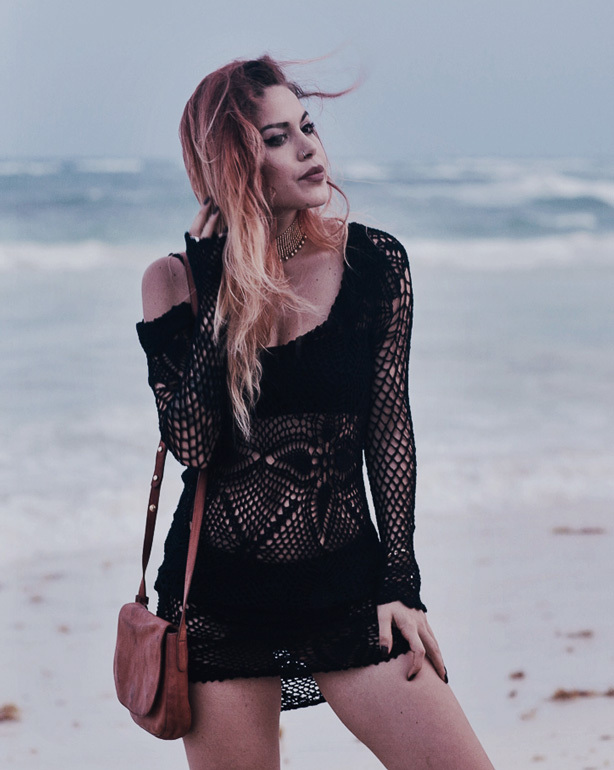 Alternative Outfits for The Beach: Gothic crochet cover-up