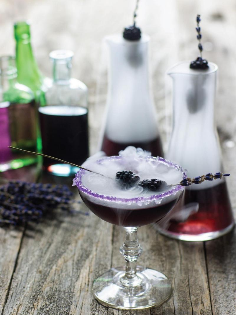 My Hyde potion cocktail with vodka and blackberry