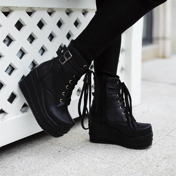 Edgy winter gothic boots