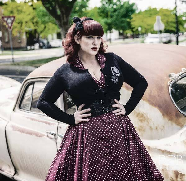 Pinup gothic look with a cropped cardigan