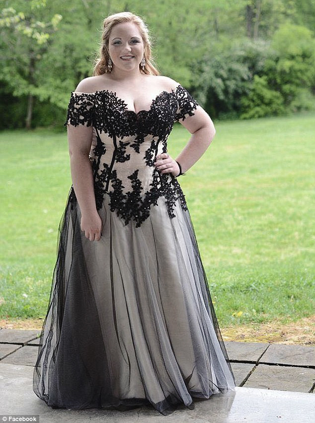 Plus size gothic lace prom dress