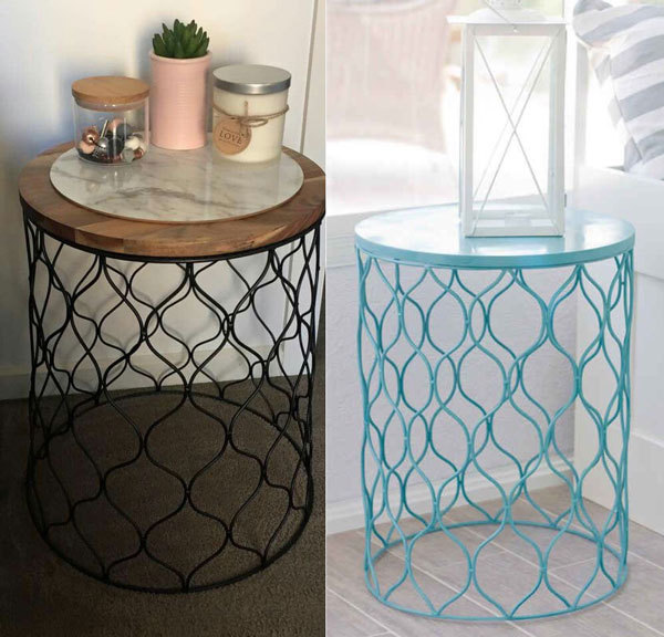inexpensive wastebasket in the color of your choice, flip it upside down, and use as a bedside table.