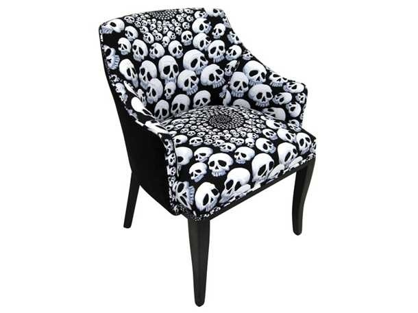 Delightful Bad Ass Velvet Skull Chair