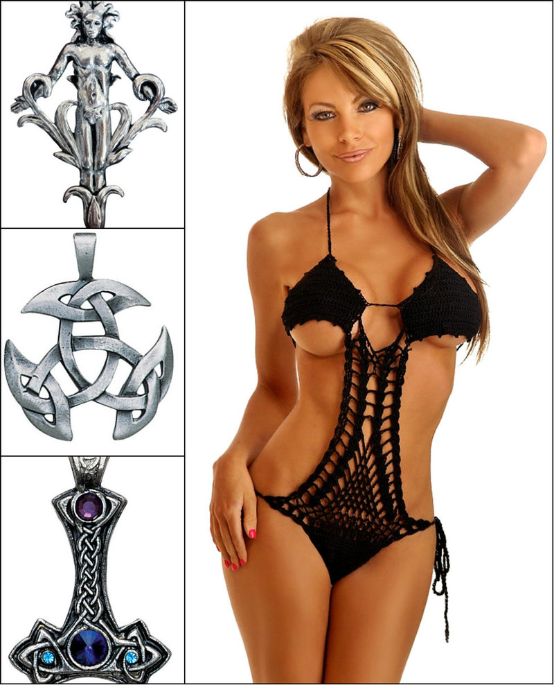Goth jewelry and bikini